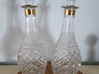 Set of 2 Crystal Decanters  Gold Tone Rim