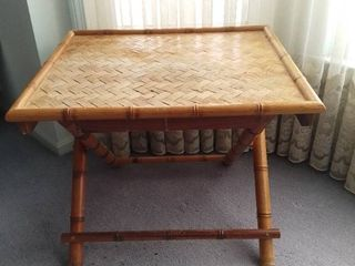low Bamboo Framed   Weaved Foldable Table   Some Water Damage