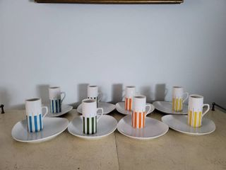 Set of 8 Mid Century Expresso Cup with Saucer