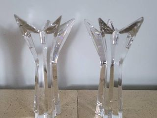 Crystal Star Pointed Candle Sticks Holders  Minor Imperfections  See Photos