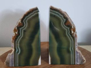 Beautiful large Forrest Green Geode Book Ends