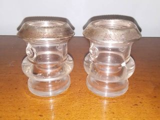 Pair of Saben Sterling and Glass Toothpick Holders