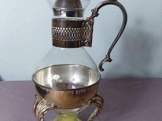 Vintage 4 Piece Silver Plated Carafe Coffee Tea Pot with Stand and Candle Warmer