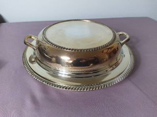 Antique Silver Plated Divided Serving Dish with lid and Handles