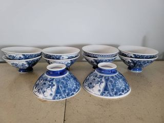 Set of 10 Japanese Soup Bowls   Blue and White Oriental Design