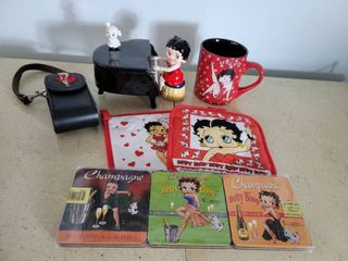 lot of Betty Boop Collectibles  Hot Pads  Coasters  Musical Piano  Phone Case and Coffee Mug