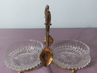 Made in England Antique Gold Toned Holder Sugar Salt Dip with 2 Crystal Etched Bowls
