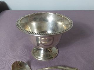 Natural Sterling Sugar Salt Bowl with National Sterling Company Spoon with Bent Handle