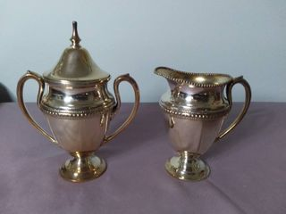 lot of 2 Glastonbury Silver Plated Antique Creamer and Sugar Container   Container with lid is Cracked in Some Places