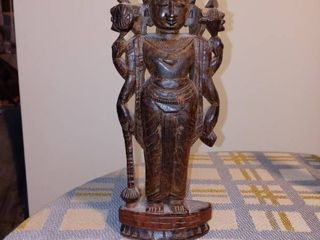 Nice Small Vintage Wooden Carved Tribal Royalty Statue