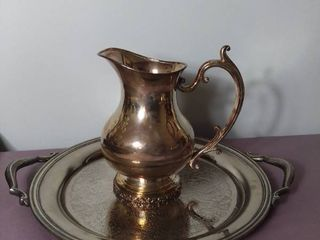 lot of 2 Silver Plated and Silver on Copper Pitcher and Decorative Platter   National Silver on Copper