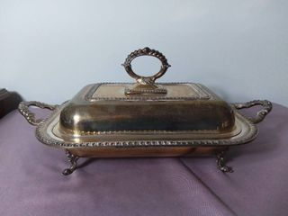Antique Silver on Copper Serving Dish with Handles and lids