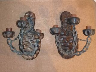 Pair of Medieval Style Wood And Chain Candle Holders