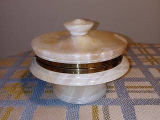 Beautiful Vintage Marble Dish Container With Attached lid