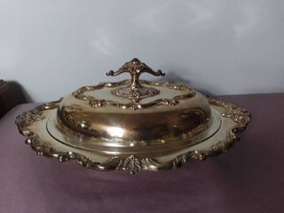 Copper Mounts Silver Plated Serving Tray with lid and Handle