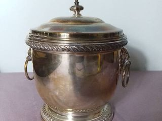 Antique Poole Silver Company Silver Plated Insulated Ice Bucket with Handles and lid