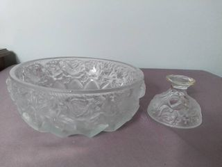 Frosted Glass Etched Crystal Bowl with Stand and Raised Rose Detailing   Stand Broken Off  Needs Some TlC