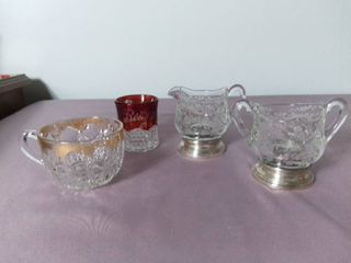 lot of 4 Glass Etched Tea Cups and Creamer and Sugar Containers
