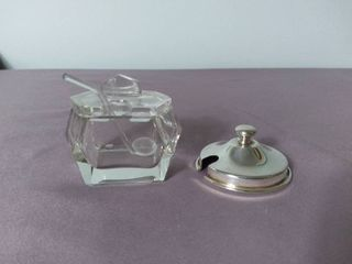 Small Glass Geometric Shaped Salt Dip and Miscellaneous Salt Dip lid