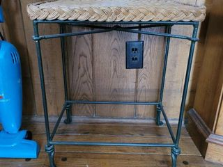 Iron Base Wicker Top Plant Stand Side Table