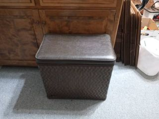 Nice Wicker Storage Basket With Padded Top Contents Included
