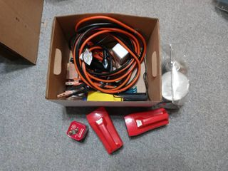 Nice lot Of Assorted Garage Items Jumper Cables  Scrapers Etc