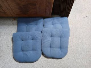 lot Of 4 Blue Chair Cushions In Great Condition