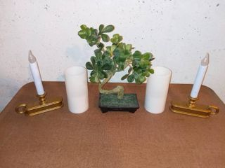 Plastic Bonsai Tree With 4 Battery Operated Candles