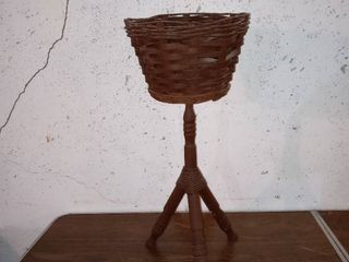 Nice Wooden Woven Tripod Basket Plant Stand