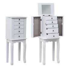 4 Drawers Jewelry Armoire with Mirror Jewelry Cabinet Chest 6 Necklace Hooks  Retail 96 49