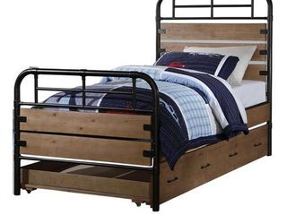 Industrial Style Metal and Wood Twin Size Bed with Slated Headboard  Black and Brown  Retail 692 99