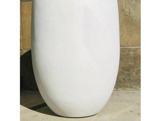 Concrete Outdoor Round Bowl Planter  21 7 Inch Tall  Pure White  Retail 107 49