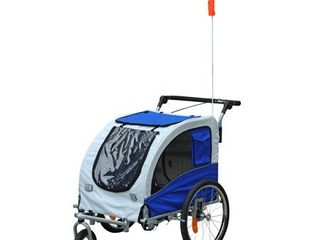 Aosom Elite II 2 In 1 Pet Dog Bike Trailer And Stroller With Suspension And Storage Pockets  Retail 209 99