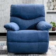 Home Powered Recliner Chair with 8 Point Remote Control Massage  Retail 460 49 blue fabric