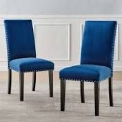 silver orchid lind velvet nailhead trim dining side chairs set of 2 Navy blue Retail 179 99