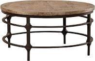 Coldiron Vintage 36 inch Round Iron   Elm Coffee Table  Retail 724 99 brown wood