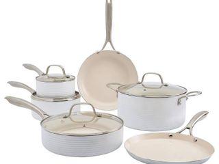 Denmark 10PC Hamilton Aluminum Cookware Set   White  Retail 179 99 used