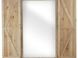 Shuttered Wall Mirror with Rustic Wooden Frame Farmhouse Decor  Retail 167 49