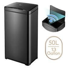 13 Gallon Automatic Trash Can Black Steel Touchless Motion Sensor Soft Close lid 50l lED Timer  large Capacity Compact Design  Retail 78 48 black 1 only