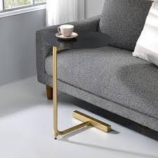 Furniture of America Tulara Contemporary Round Metal Side Table  Retail 96 99 black top gold base