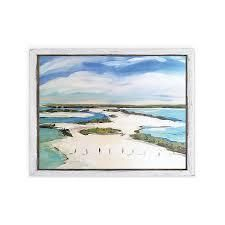 Coastal Marsh  Gallery Wrapped Canvas   yellow  blue  green  red  black  white  Retail 138 49