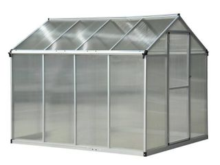 Outsunny 8 x 6 x 6 5 ft Polycarbonate Aluminum Frame Stable Walkin Garden Greenhouse with Opening Roof   UV Resistance  Retail 415 99 2boxes
