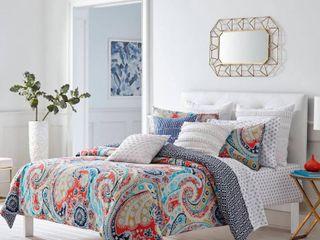Trina Turk Mirage Paisley Fusion Coral Duvet Set  Full Queen Bedding