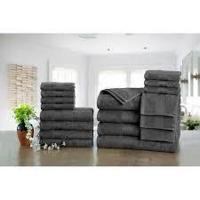 Ample Decor Premium Cotton 18 Pc Towels  4 Bath  4 Hand  10 Wash Towel dark gray