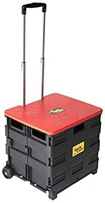 dbest products Quik Cart Wheeled Rolling Crate Teacher Utility With seat heavy duty collapsible basket with handle  Red