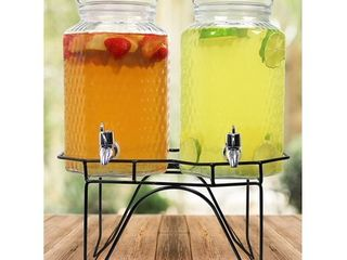 Estilo Hammered Glass Double Beverage Drink Dispenser On Stand With leak Free Spigot  1 Gallon Each