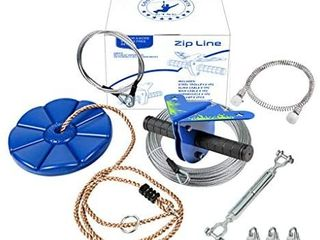 CTSC 110 Foot Zipline Kit with Stainless Steel Spring Brake and Seat  Ziplines for Backyards  Bring Colorful Fun and Enjoyment with The Most Complete Accessories Zipline Up to 250lb   B   Blue