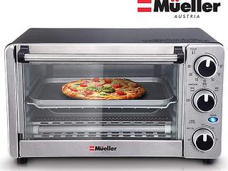 Mueller Austria Toaster Oven 4 Slice Multi function Stainless Steel Finish