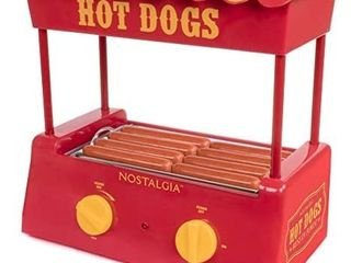 Nostalgia HDR8RY Hot Dog Warmer 8 Regular Sized  4 Foot long and 6 Bun Capacity  Stainless Steel Rollers  Perfect For Breakfast Sausages  Brats  Taquitos  Egg Rolls  Red Yellow