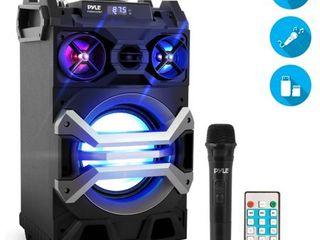 Portable BT Karaoke Speaker System  PA loudspeaker with Flashing DJ lights  Built in Battery  Microphone  Mic Talk Over   Recording Ability  MP3 USB SD FM Radio  500 Watt